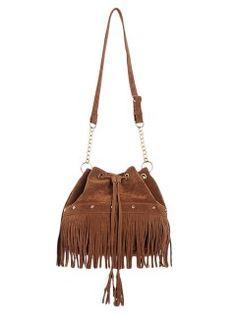 Shop Camel Drawstring Tassel Shoulder Bag from choies.com .Free shipping Worldwide.$50.99