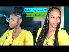 "Braids & Beads Updo with ""My Expert 24"" RASTAFRI Kanekalon hair [Video] - Black Hair Information"