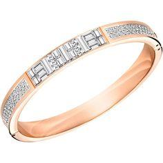 Swarovski Ethic Bangle ($77) ❤ liked on Polyvore featuring jewelry, bracelets, swarovski jewellery, pave bangle, baguette jewelry, pave jewelry and bangle jewelry
