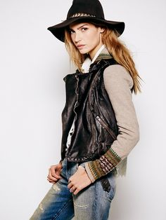 I remember seeing and trying on this jacket at Free People the other day. I REALLY REALLY REALLY WANT IT :'( why must I be so broke???  Free People Free People Vegan Leather Motorcycle Sweater Jacket, $198.00