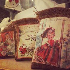 Little homemade gift bags. Print an image, sew it on fabric (jute/burlap).