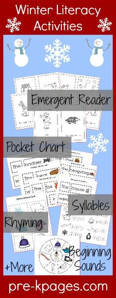 Printable Winter Literacy Activities for Preschool