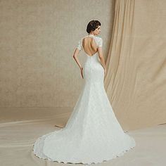 A Line Jewel Floor-length Chapel Train Juliet Backless Wedding Dress - USD $ 459.99