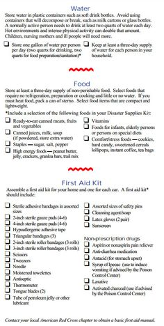 72 Hour Kit Checklist 1 (I haven't gone crazy prepper, I promise! It's hurricane season and I just discovered my 911 kit was cleaned out last year)