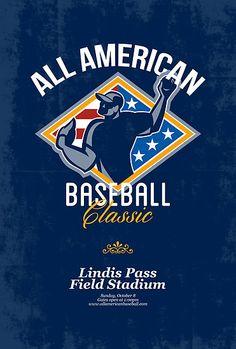 American Baseball Classic Retro Poster by patrimonio