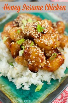 Baked Honey Sesame Chicken Skip the Chinese take-out and try this easy homemade version of Baked Honey Sesame Chickeninstead. It tastes even better than your favorite restaurantversion. The chicken is sweet, sticky and oh so savory. Don't eat this Al Fresco, in case the neighbors want to come over and steal some dinner.   I LOVE Chinese food. They have the most amazing sauces on the planet...