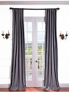 Chinchilla Grey Vintage Cotton Velvet Curtain Mauve Textured Linen Blend Pole Pocket Curtain on discounted prices with coupon and promo codes from Halfpricedrapes.com.