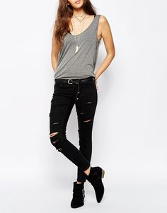 Only All Over Distressed Slashed Ankle Jean