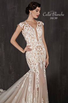 Calla Blanche - 16130 / LYDIA | Jaehee Bridal Atelier  #sheath #plunging #capsleeve #bridal #weddingdress