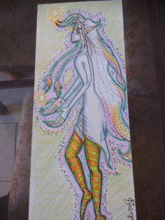 """título """"Andrógino"""" Técnica colores arte reciclado arte espontáneo"""