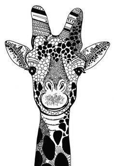 Limited Edition Happy Giraffe Drawing Print- Signed by Kelsey Montague Giraffe Drawing, Giraffe Art, Pencil Drawings Of Flowers, Ink Pen Drawings, Adult Coloring Book Pages, Animal Coloring Pages, Zentangle Patterns, Zentangles, Giraffe Pictures