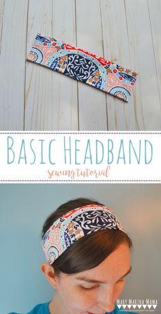 Sewing Basic Basic Headband Tutorial – Mary Martha Mama- how to sew a headband using knit fabric scraps Sewing Headbands, Diy Baby Headbands, How To Make Headbands, Fabric Headbands, Diy Headband, Handmade Headbands, Hippie Headbands, Stretchy Headbands, Easy Sewing Projects