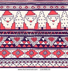 Christmas Vector Seamless Pattern With Knitted Santa - 116308135 : Shutterstock