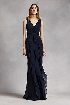 V-Neck Wrapped Bodice Dress with Satin Belt VW360189 - black, red or blue