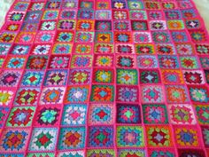 Granny Squares PINK Fusion Blanket Bright Vivid by Thesunroomuk