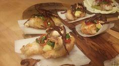 Crisp daikon with fried langoustine, pineapple and cashews