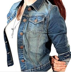a96b58a8e0c3bb MMCP Women s Classic Button Down Ripped Slim Fit Denim Jackets Outwear Denim  blue M Jacket Jeans