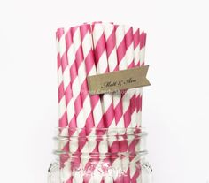 Hot Pink Paper Straws 25 Pink  Striped by thepapercandyshoppe, $3.99