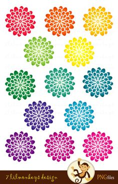Blooming Flowers - 41 Digital Clip Arts for Scrapbooking, Stationery or Invitations - Dahlia, flower, rainbow CA24