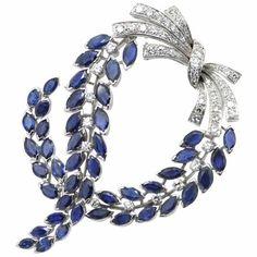 Massoni Sapphire and Diamond Brooch, 1970s