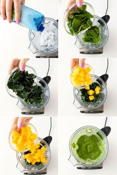 Blend coconut water, spinach, kale, pineapple + mango together to make this healthy green smoothie.