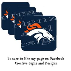 "DENVER BRONCOS Set of FOUR COASTERS 3.5"" square so - 7.95 USD - Are you ready for some Football!! Having friends over to watch the game? This set of four Coasters is exactly what you need!  This set of Denver Broncos coasters are soft, flexible, absorbent and washable. Each one is 3.5"" square with r..."