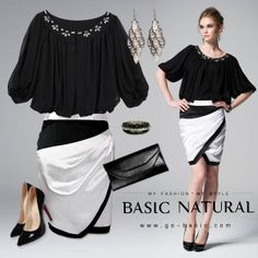 Crystal Collar Chiffon Blouse & Black & White Block Silk Crepe skirt