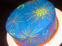 fourth of july fireworks cake Fireworks Cake, Wedding Fireworks, Fourth Of July Cakes, Fourth Of July Food, July 4th, Fireworks Photography, Cake Photography, Cake Icing, Cupcake Cakes