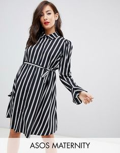 Buy ASOS DESIGN Maternity stripe long sleeve mini shirt dress at ASOS. Get the latest trends with ASOS now. Asos Maternity, Maternity Tops, Maternity Dresses, Mini Skater Dress, Mini Shirt Dress, Pregnancy Outfits, Pregnancy Clothes, Going Out Outfits, Asos Curve