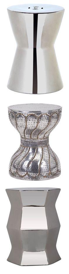Silver Garden Stool | Silver Ceramic Stools | Silver Porcelain Stool |  Silver Ceramic Stool |