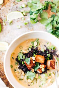 ginger + lemongrass infused thai soup with crispy tofu and wild rice — sobremesa | dairy free vegetarian recipes best shared