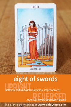 Eight  of Swords #tarotcardmeaning learn more athttp://www.biddytarot.com/tarot-card-meanings/minor-arcana/suit-of-swords/eight-of-swords/