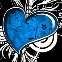 Blue heart! Great pattern for a bedroom mural! <3