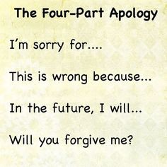 The Four Part Apology; how to help your students learn to apologize.