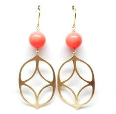 Pink Coral and Geometric Vermeil  http://www.peytonwilliam.com/new-products-2/pink-coral-and-geometric-vermeil-earring