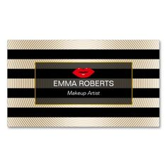 Makeup Artist Modern Black & Gold Stripes Red Lips Double-Sided Standard Business Cards (Pack Of 100)
