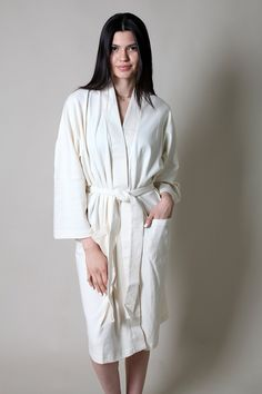 edc5961287 Viverano LUXURIOUS Organic Cotton Spa Robe   Bathrobe - Kimono Style