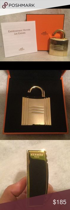 Hermes Kelly Jewel Lock Perfume Bottle Gold Lmtd Ed. All sold out. This Jewel is refillable. The bottle is shiny gold plated metal of Hermes Iconic Padlock. It can be refilled endlessly. You can buy refills in designated stores. It comes in different scents. Also includes original box, care and instruction book. Note: This is used might have scratches or hairlines but not visible. Hermes Bags Cosmetic Bags & Cases