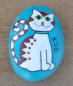 #Cat #Cats #Katze #Katzen - Painting on Stone Painted Art on Sea Stones by KYMA - website: http://kymastyle.com - shop: http://kymastyle.dawanda.com - facebook/instagram/twitter: kymastyle - contact 4 orders + infos: kymastyle@yahoo.com