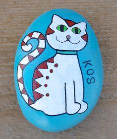 #Cat #Cats #Katze #Katzen - Painting on Stone Painted Art on Sea Stones by KYMA - website: http://kymastyle.com - shop: http://kymastyle.dawanda.com - facebook/instagram/twitter: kymastyle - contact 4 orders + infos: kymastyle@yahoo.com
