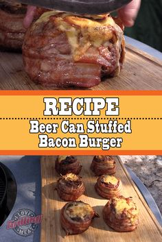 It's a different breed of stuffed bacon burger and absolutely nothing like your average burger patty. In some communities, grilling and eating a whole one of these burgers is a rite of passage into BBQ Pitmaster manhood. See for yourself. Pellet Grill Recipes, Grilling Recipes, Meat Recipes, Cooking Recipes, Smoker Recipes, Hamburger Recipes, Weber Recipes, Vegetarian Grilling, Traeger Recipes