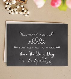 Wedding Day Card Thank You Chalkboard          Printable Instant Download