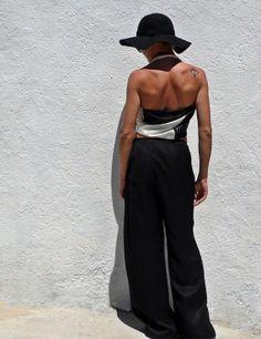 Vintage Black Silk Wide Leg Women's Trousers on Wanelo