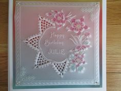 Birthday card made from a Groovi plate design by Linda Williams. Birthday Cards, Happy Birthday, Parchment Craft, Plate Design, I Card, Clarity, Floral Wreath, Card Making, Wreaths