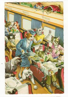 In the Old Days, Cats Smoked Cigars While Roasting Chickens: 10 Weird Vintage Postcards I Love Cats, Crazy Cats, Cool Cats, Weird Vintage, Vintage Cat, Animal Gato, Gatos Cats, Fancy Cats, Matou