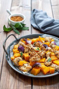 Gustosi bocconcini di #pettodipollo con #zucca a cubetti e spezie #ricette #pollo #pumpkin #secondiveloci