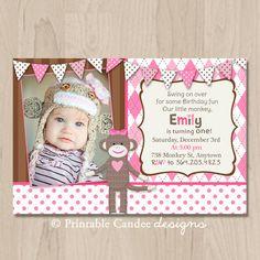 Girl Sock Monkey Birthday Invitation - DIY Custom Printable on Etsy, $10.00
