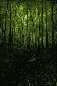 """Daniel Danger: """"Everything still exists, you need to keep moving."""" O tom mais claro de verde no céu. Os tons médios nas árvores. Os tons mais rscuros no chão. Simples assim! Estude!"""
