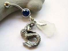 Sea Glass Mermaid Belly Button Jewelry, Bellybutton Ring, Beach Glass Belly Ring Mermaid Jewelry Sea Goddess Navel Ring