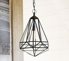 Faceted Indoor/Outdoor Pendant   Pottery Barn